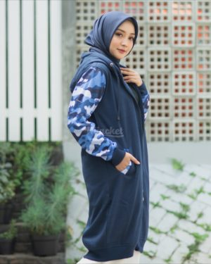 Jaket Distro Wanita Camouflashion HJ-CF-ROYAL-BLUE-XL
